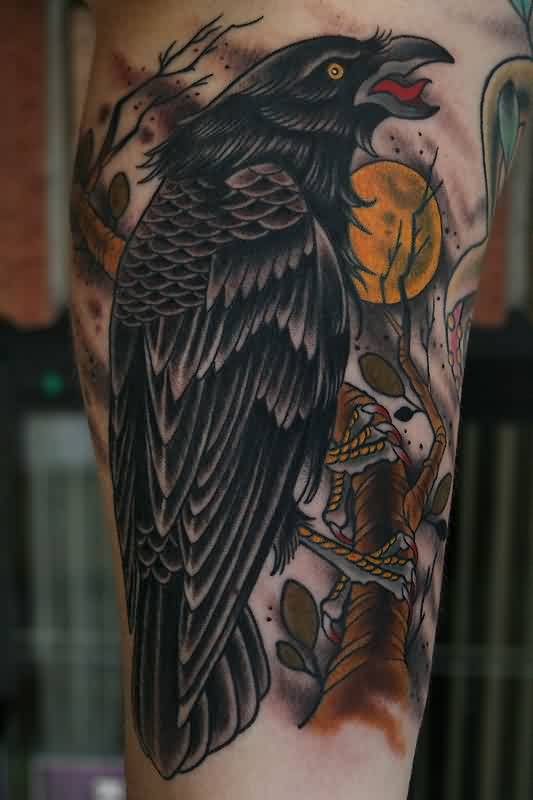 Crow And Moon Tattoos On Arm