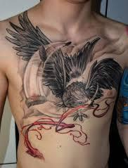 Crow And Moon Tattoos On Chest For Guys