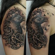 Crow And Roses Portrait Tattoos On Shoulder