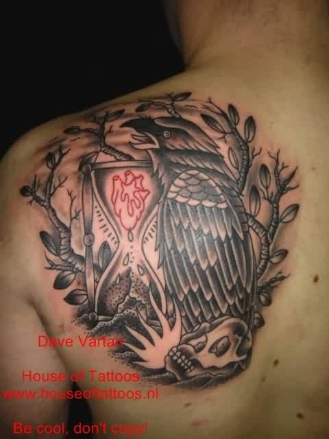 Crow And Sand Clock Tattoo For Men