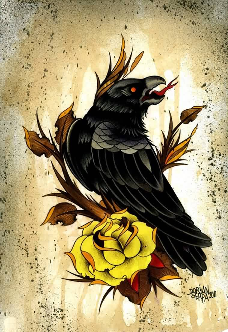 Crow And Yellow Rose Tattoo Design