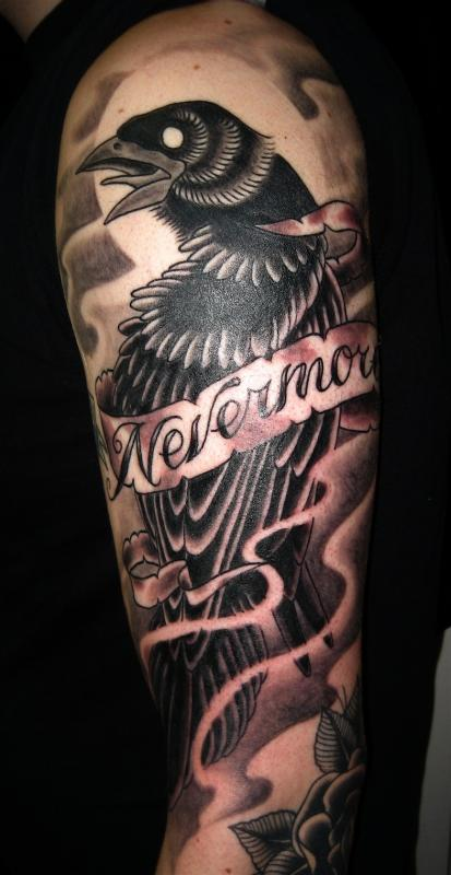 Crow Banner And Flame Tattoos For Sleeve