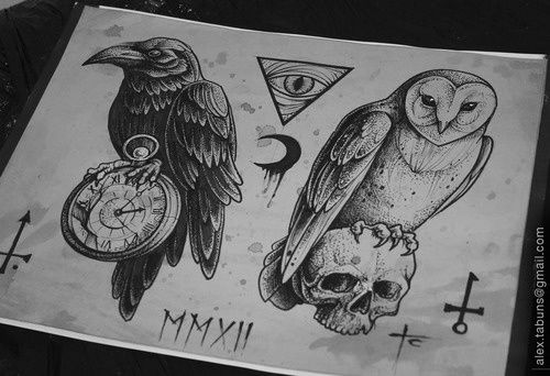 Crow Clock Owl Tattoos Drawing Sheet
