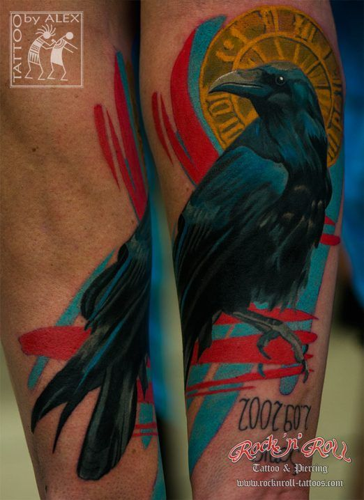 Crow Color Arm Tattoos