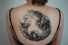 Crow Dove And Owl Circle Tattoo On Upperback
