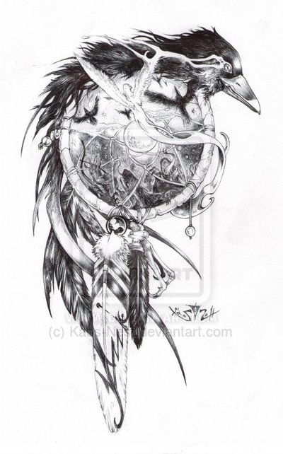 Crow Dreamcatcher Tattoo Design