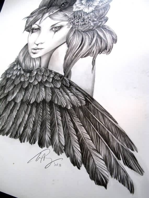 Crow Girl Tattoo Sketch