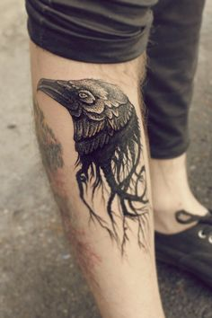 Crow Head Tattoo On Leg