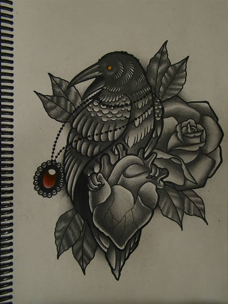 Crow Heart And Roses Tattoos Designs