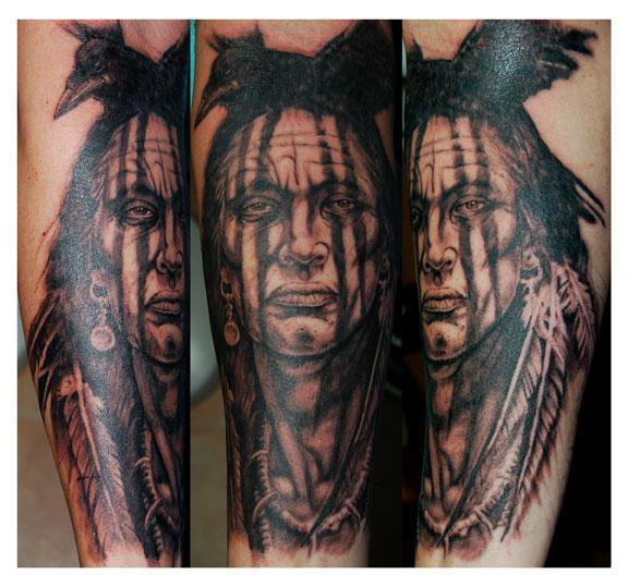 Crow On Ancient Man Head Tattoo