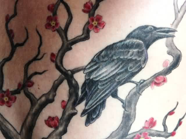 Crow On Blossoms Branch Tattoo