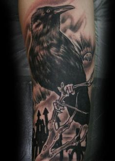 Crow On Branch Portrait Tattoo On Sleeve