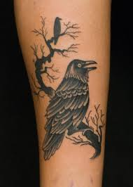 Crow On Branch Tattoo On Arm