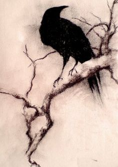 Crow On Branch Tattoo Print