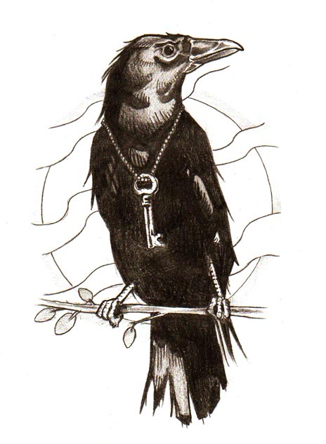 Crow On Branch With Key Tattoo Design