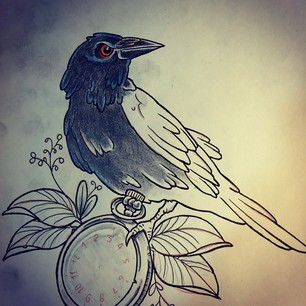 Crow On Clock Tattoo Flash