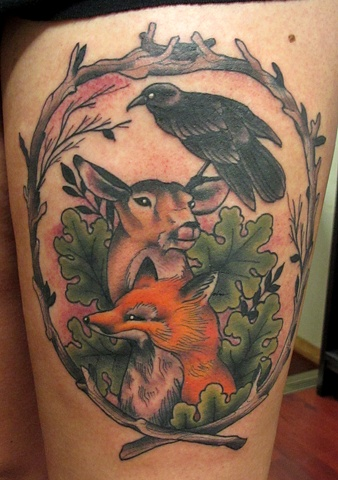 Crow On Deer Head And Fox Tattoos On Thigh