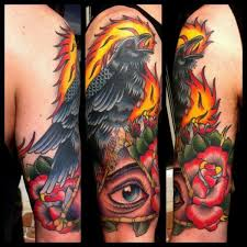 Crow On Eye Triangle And Rose Tattoos On Half Sleeve