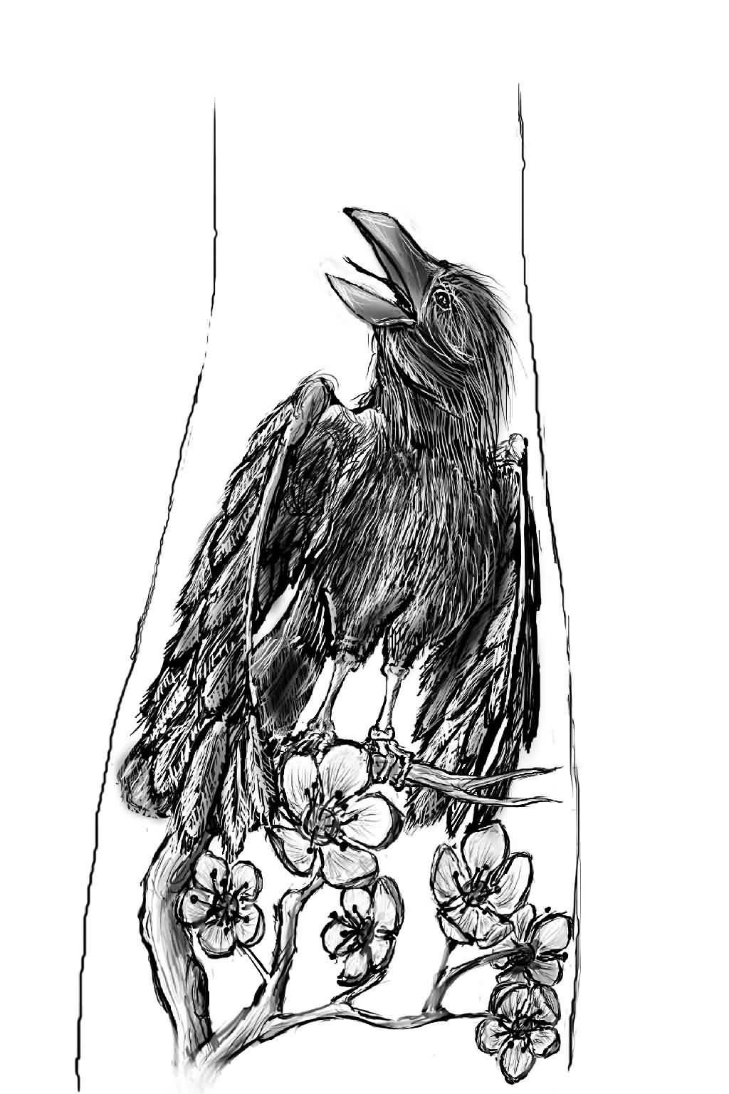 Crow On Flowers Branch Tattoo Design