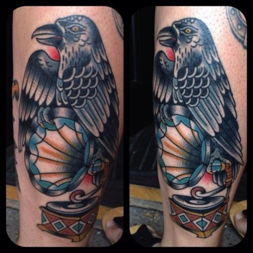 Crow On Phonograph Tattoos