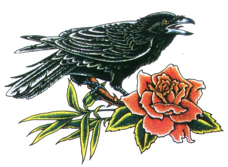 Crow On Rose Branch Tattoo Model
