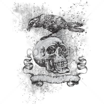 Crow On Skull And Banner Tattoo Design