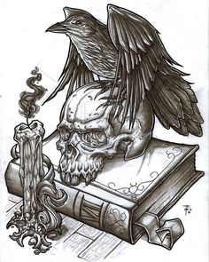 Crow On Skull Book And Burning Candle Tattoo Designs