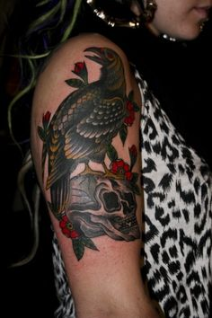 Crow On Skull Lovely Tattoo On Arm