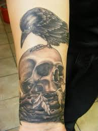 Crow On Skull Portrait Tattoo On Lower Arm