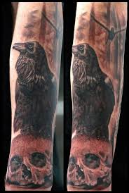 Crow On Skull Portrait Tattoo On Sleeve