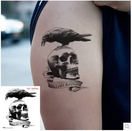 Crow On Skull Temporary Tattoo On Biceps