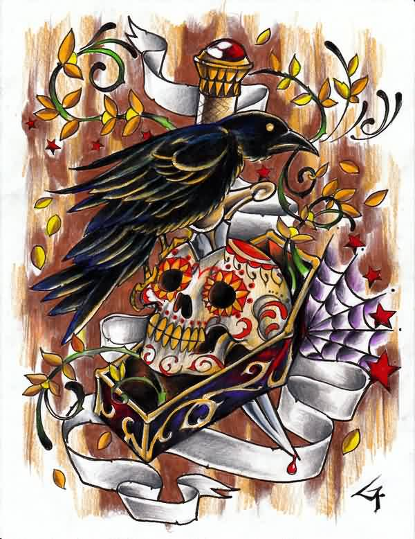Crow On Sugar Skull Tattoo Design