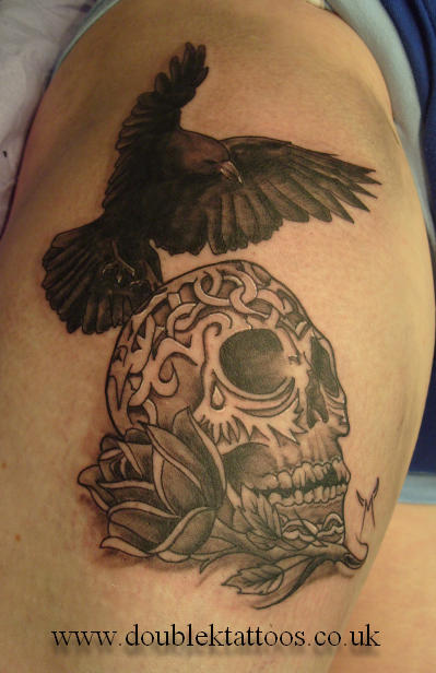 Crow On Sugar Skull Tattoo