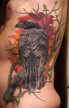 Crow On Tree Branch Tattoo On Rib Side