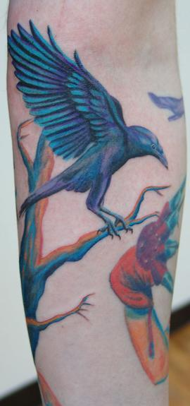 Crow On Tree Color Tattoo