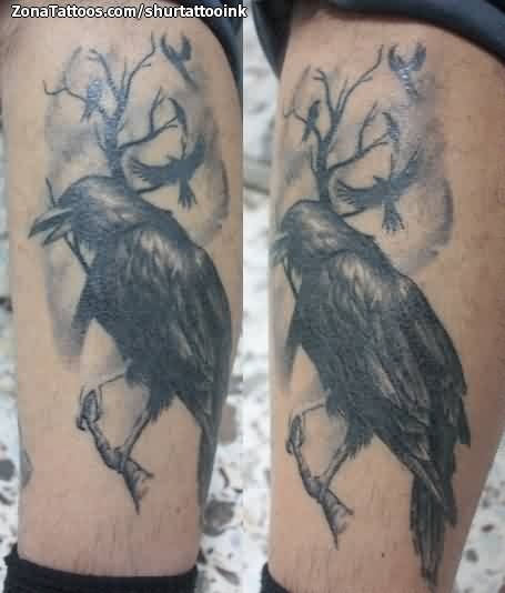 Crow On Tree Leg Tattoo