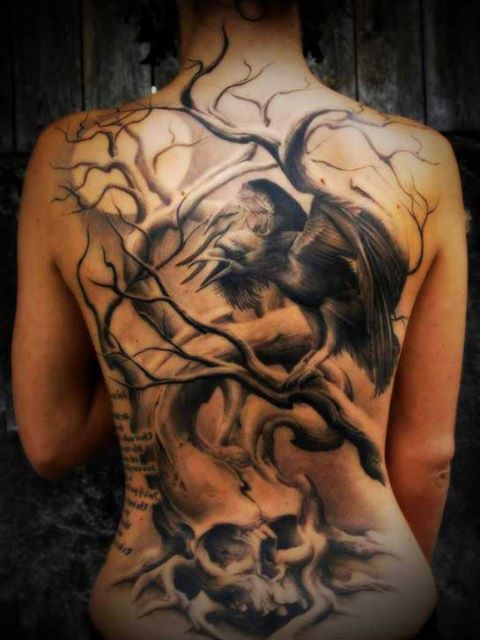 Crow On Tree Tattoo On Entire Back