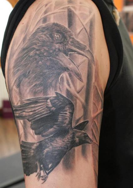 Crow Portrait Tattoos On Upper Arm For Guys