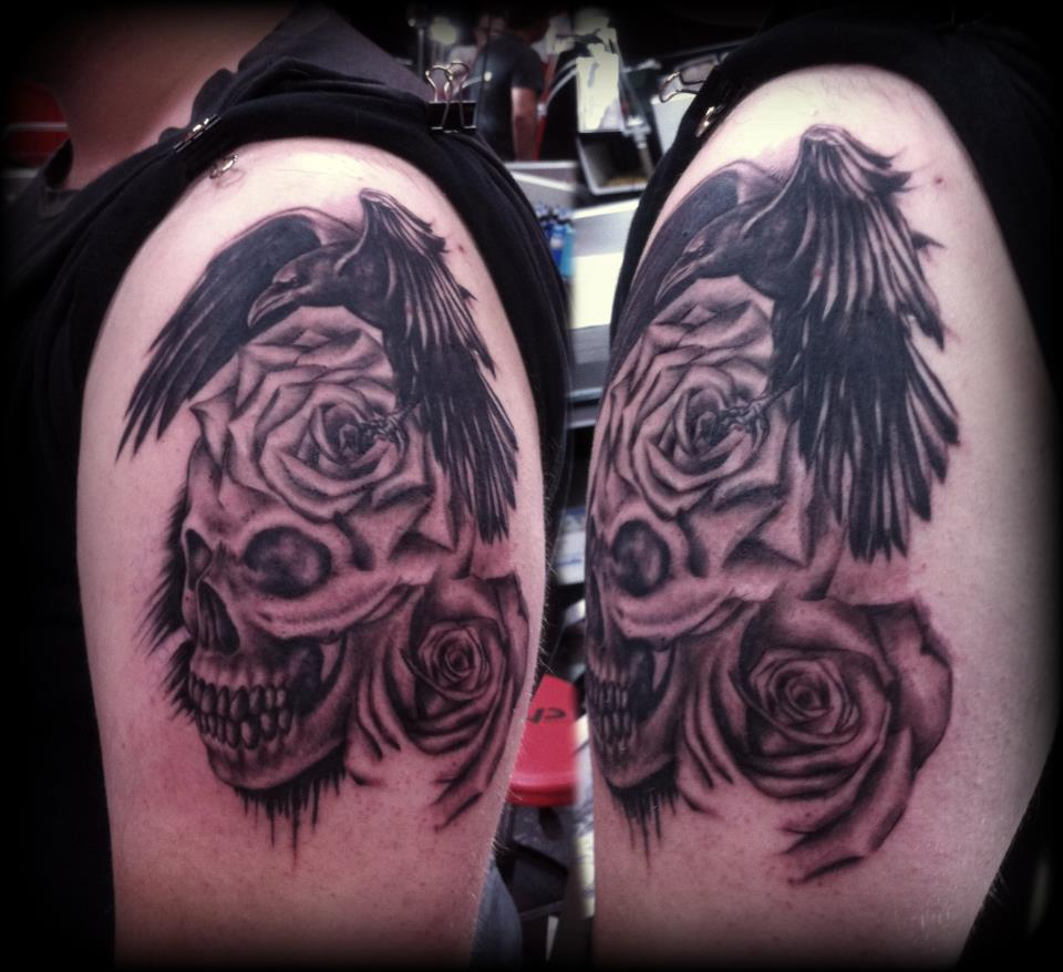 Crow Rose Skull Tattoos On Shoulder