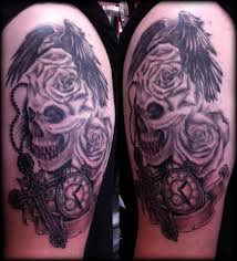 Crow Roses Skull And Watch Tattoos On Half Sleeve