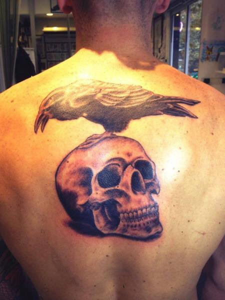 Crow Sitting On Skull Tattoo