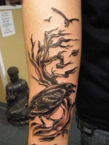 Crow Sitting On Tree Branch - 3D Tattoo