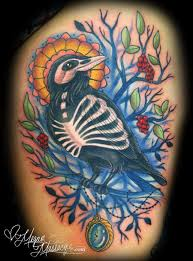 Crow Skeleton On Branch Colored Tattoo