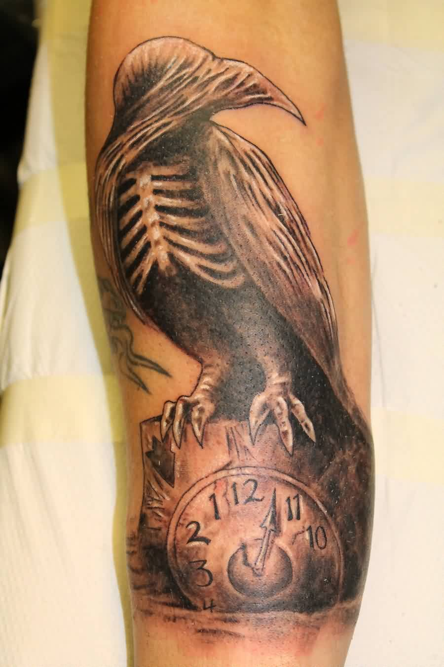 Crow Skeleton On Clock Tattoo On Arm
