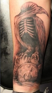 Crow Skeleton On Clock Tattoos