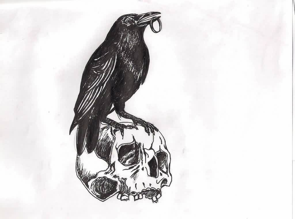 Crow Skull Tattoo Design