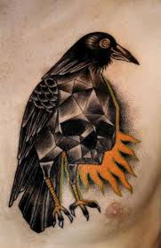 Crow Skull Tattoo On Chest