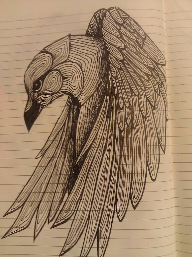Crow Tattoo Drawing Again