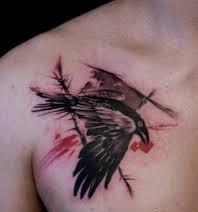 Crow Tattoo On Chest