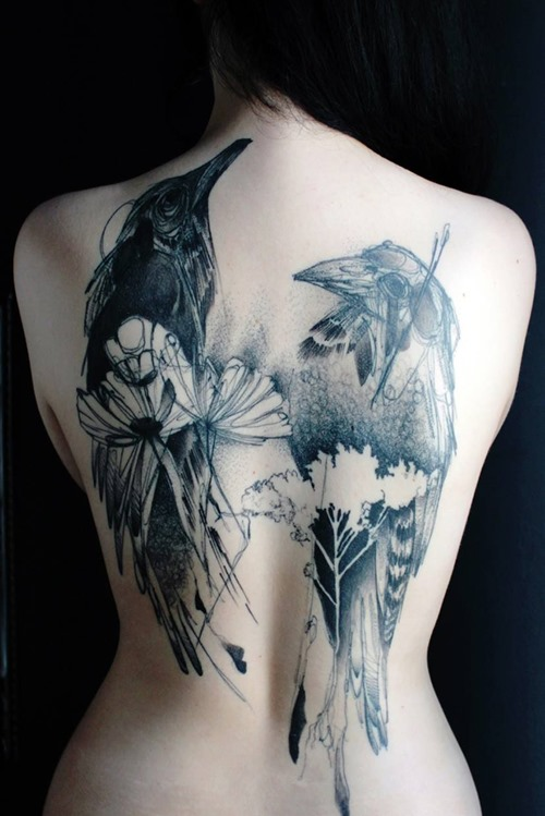 Crow Tattoos On Topless Back